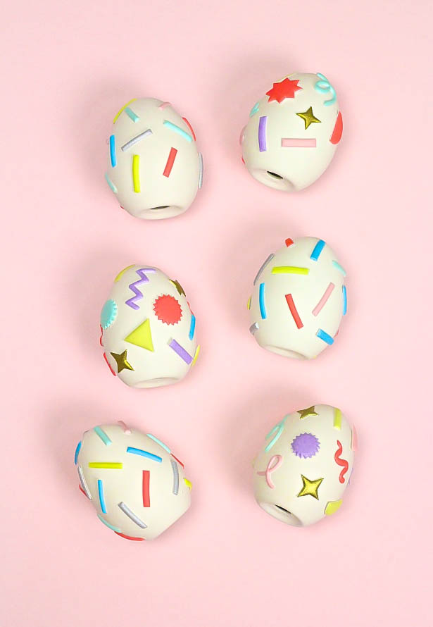 Pastel Geo & Squiggle Retro Ceramic Easter Eggs