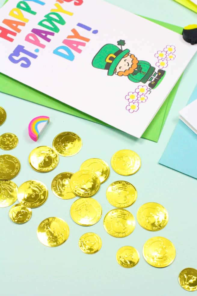 Printable Saint Patrick's Day Cards Gold Coin Confetti