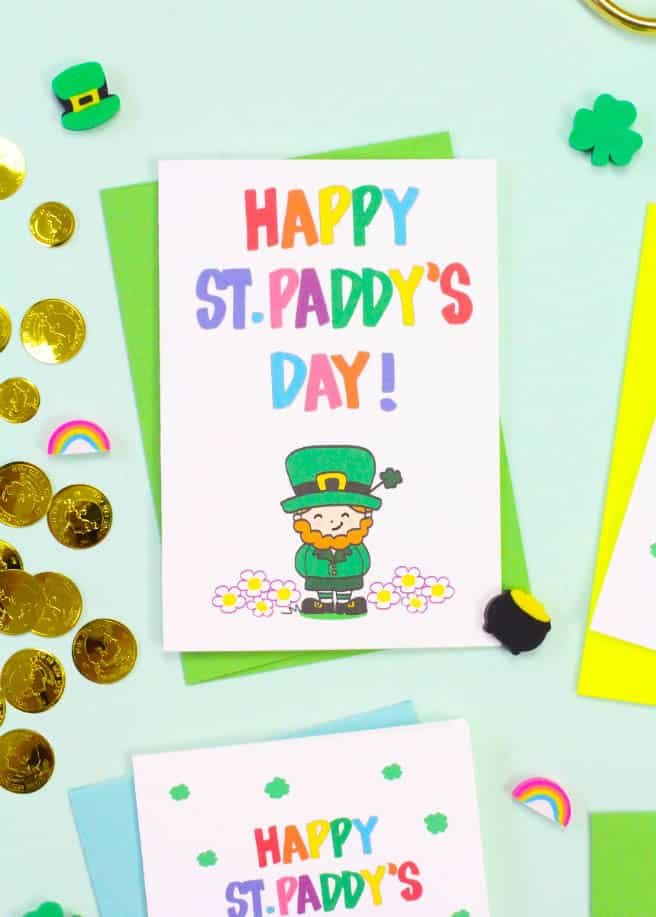 image relating to St Patrick's Day Cards Free Printable known as No cost Printable Saint Patricks Working day Playing cards! ⋆ Brite and Bubbly