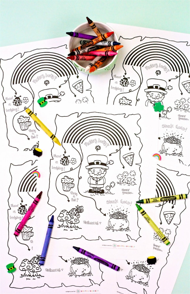 Saint Patricks Day Coloring Printable Map Color Crayons