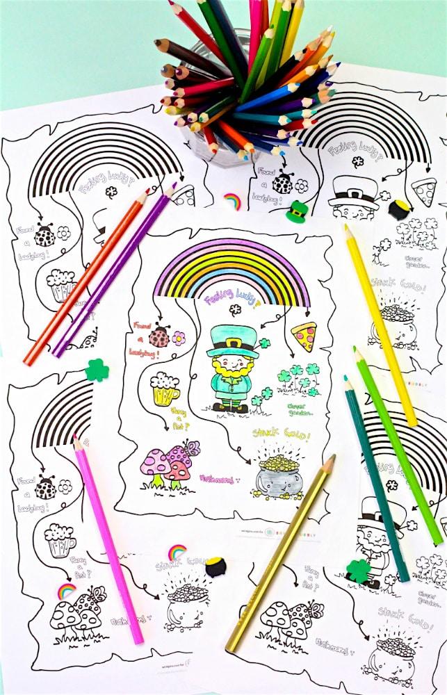 Saint Patricks Day Coloring Printable Map Color Pencils