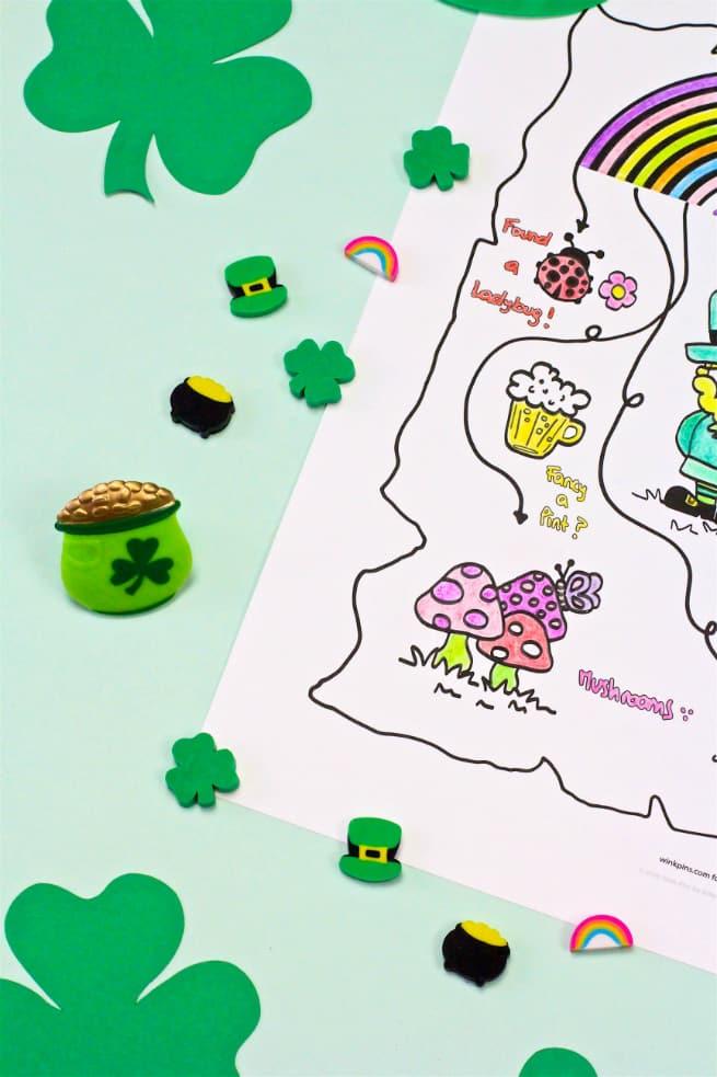 Saint Patricks Day Coloring Printable Map Erasers