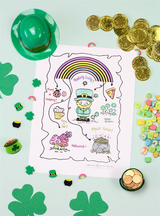 Saint Patricks Day Coloring Printable Map