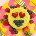 Fun Emoji Themed Berry Covered Waffle For Brunch!