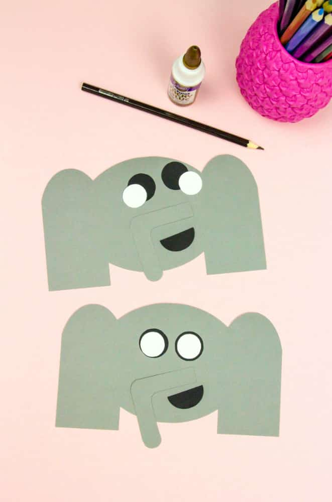 DIY Elephant Thank You Cards & Pig Bookmarks Step 1