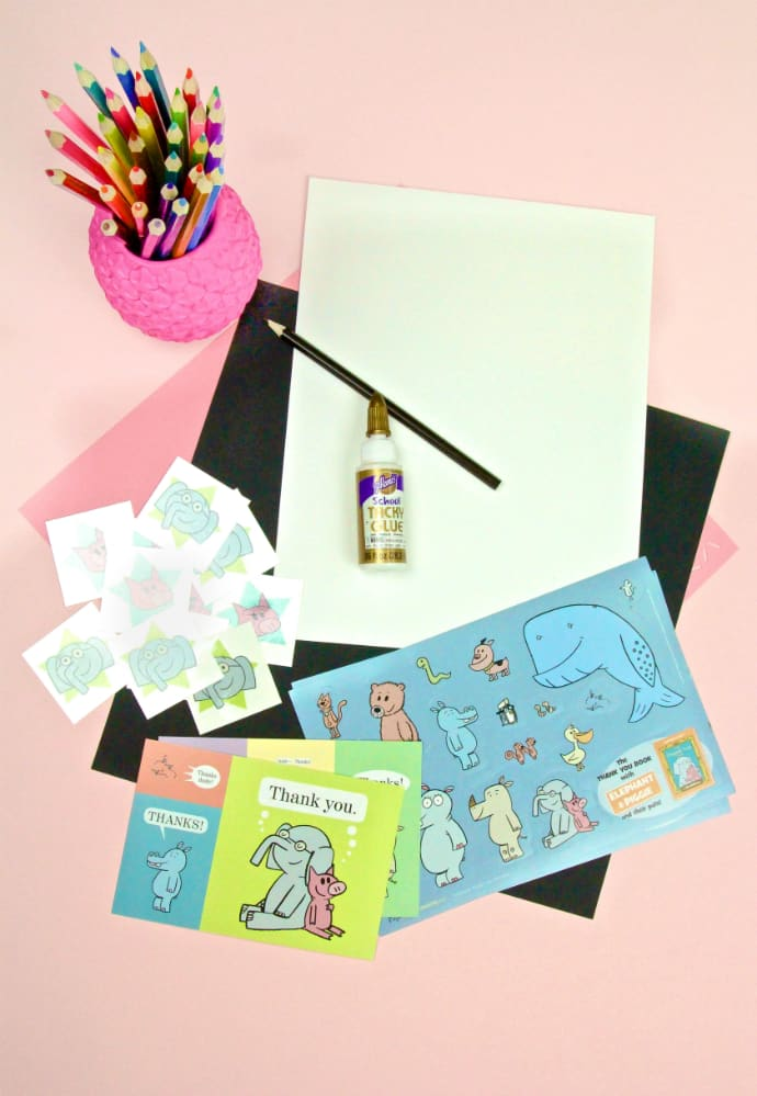 DIY Elephant Thank You Cards & Pig Bookmarks Supplies