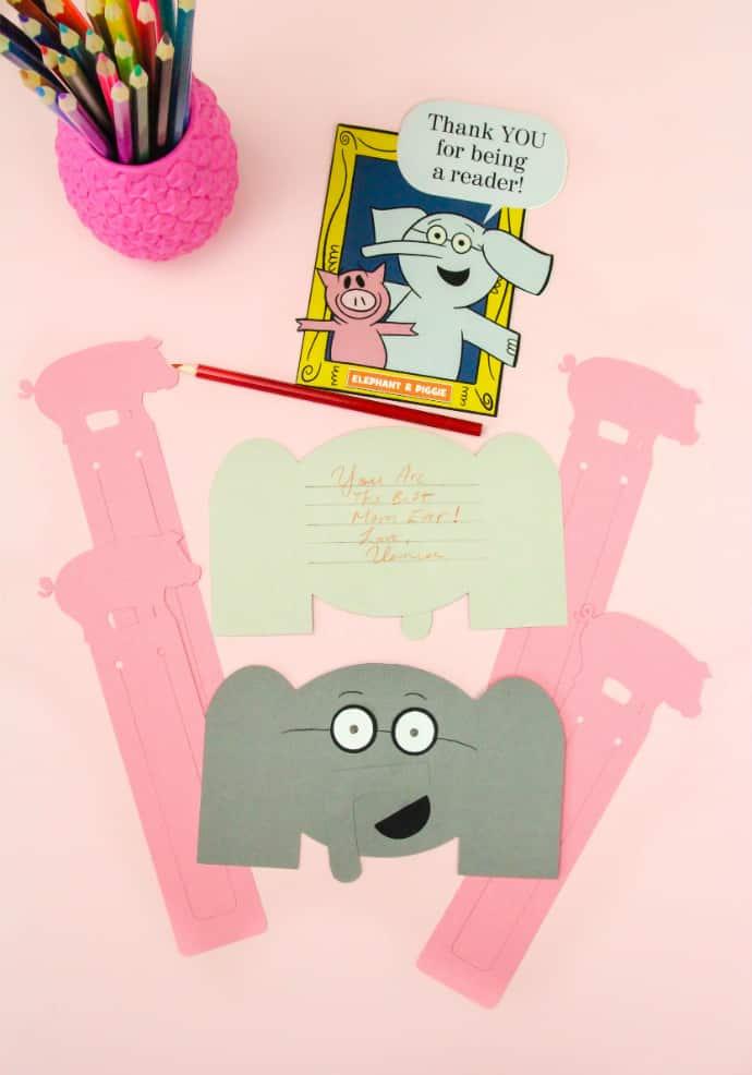 DIY Elephant Thank You Cards & Pig Bookmarks