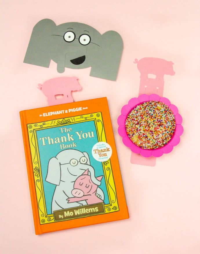 Mo Willems DIY Elephant Thank You Cards & Pig Bookmarks Cookie