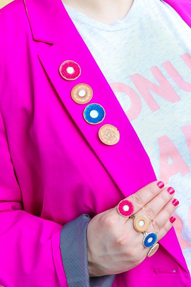 DIY Donut Flair Pins, Rings