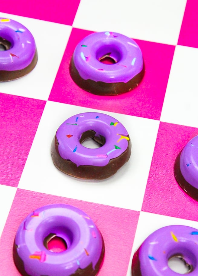 DIY Edible Purple Donut Checkers