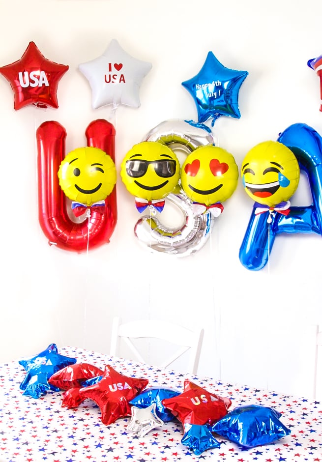 DIY Emoji Independence Day Balloons