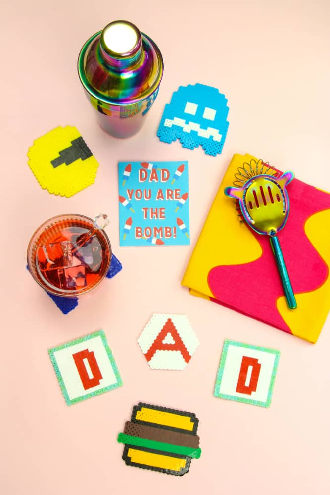 DIY Father's Day Perler Bead Coasters