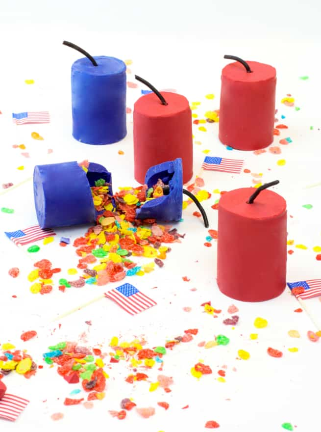 DIY July 4th Fruity Pebbles Cereal Firecrackers