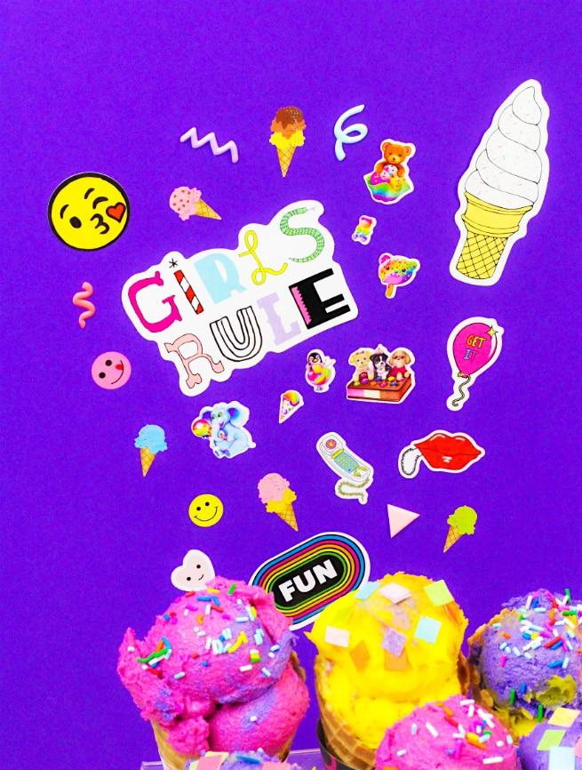 90's Retro Print Ice Cream Cone Wrappers Stickers