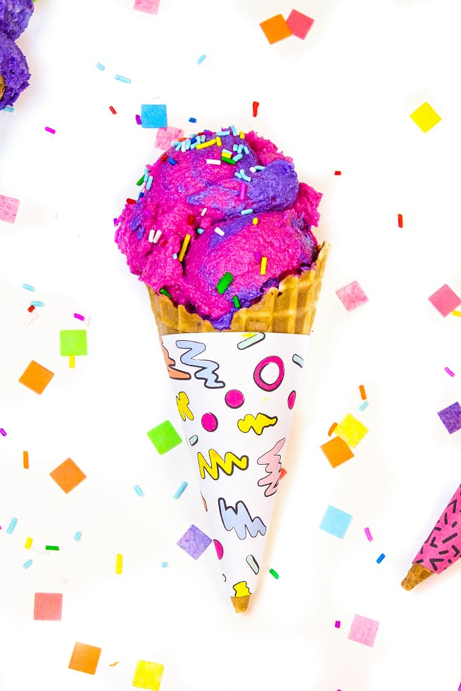 image about Ice Cream Printable identify 90s Retro Print Ice Product Cone Wrappers! (No cost Printable