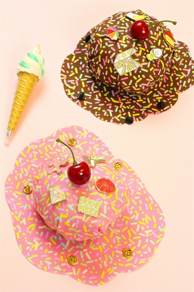 Easy No Sew DIY Splattered Ice Cream Pin Cushions!