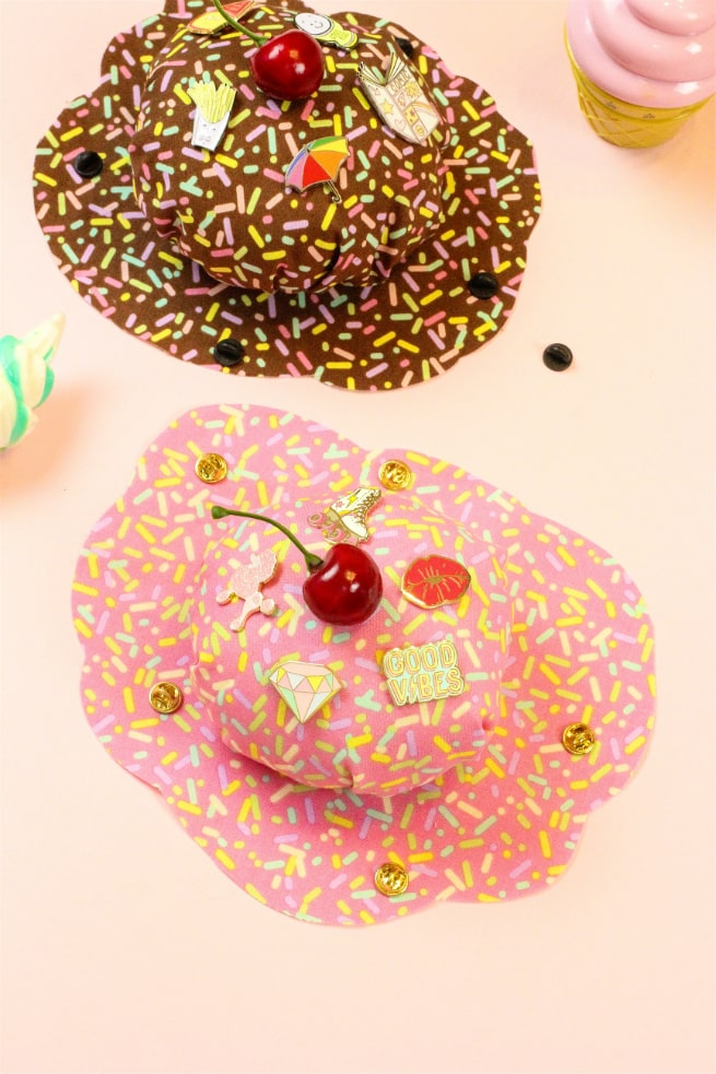 Strawberry No Sew DIY Splattered Ice Cream Pin Cushion