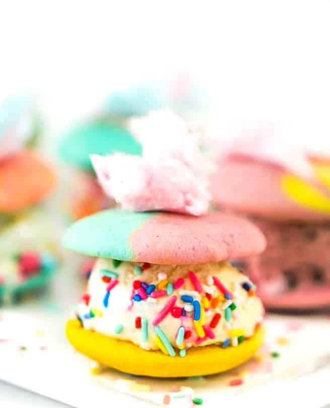 Rainbow Whoopie Pies Ice Cream Sandwiches