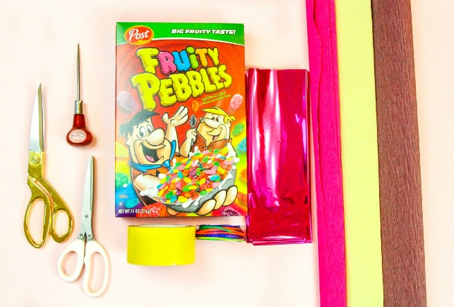 DIY Fruity Pebbles Popsicle Pinata Supplies