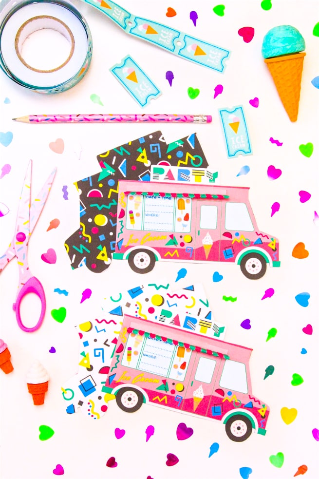 photograph regarding Ice Cream Party Invitations Printable Free identified as 90s Retro Free of charge Printable Ice Product Truck Bash Invitations
