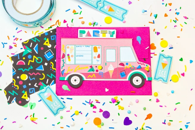 90s Retro Free Printable Ice Cream Truck Party Invites Brite – Ice Cream Party Invitation