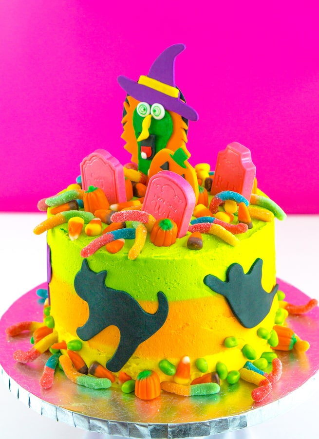 DIY Lisa Frank Inspired Neon Halloween Cake Brite and Bubbly
