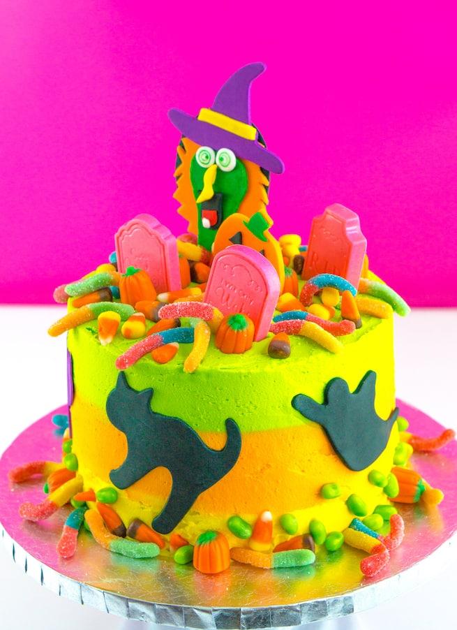 Enjoyable Diy Lisa Frank Inspired Neon Halloween Cake Brite And Bubbly Funny Birthday Cards Online Alyptdamsfinfo