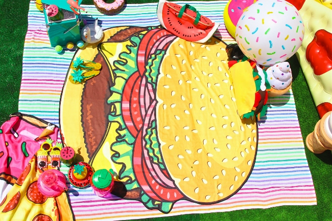 Foodie Pool Party Hamburger Beach Blanet
