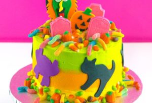 DIY Lisa Frank Inspired Neon Halloween Cake!