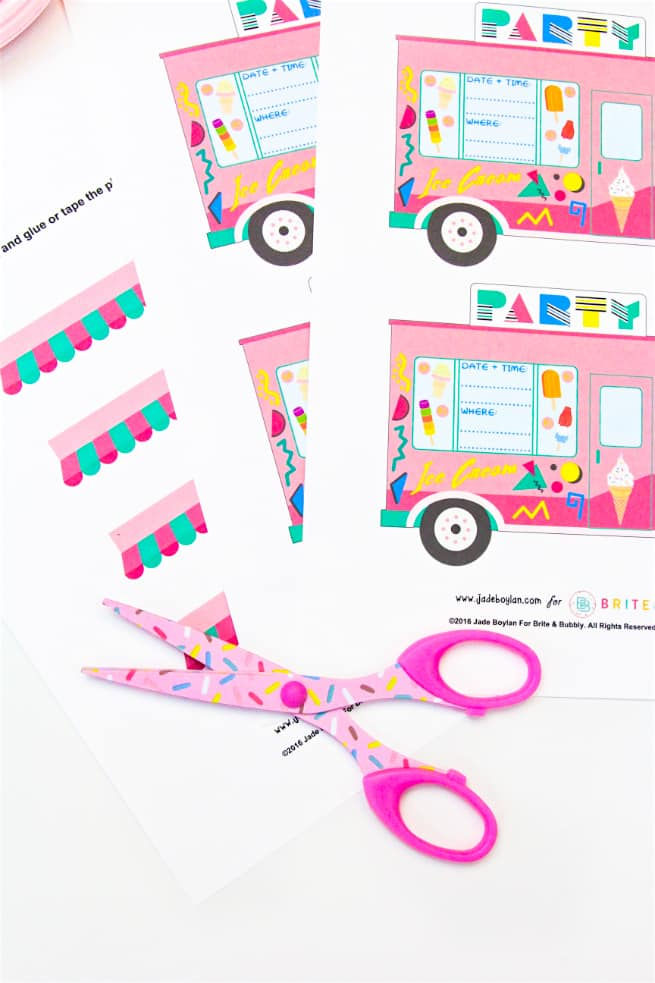 photo about Ice Cream Party Invitations Printable Free identified as 90s Retro Cost-free Printable Ice Product Truck Celebration Invitations