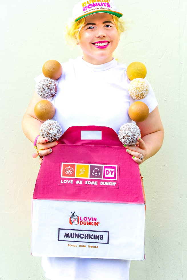 easy-diy-dunkin-donuts-munchkin-inspired-costume  sc 1 st  Brite and Bubbly & Last Minute DIY Dunkin Donuts Munchkins Inspired Costume! ? Brite ...