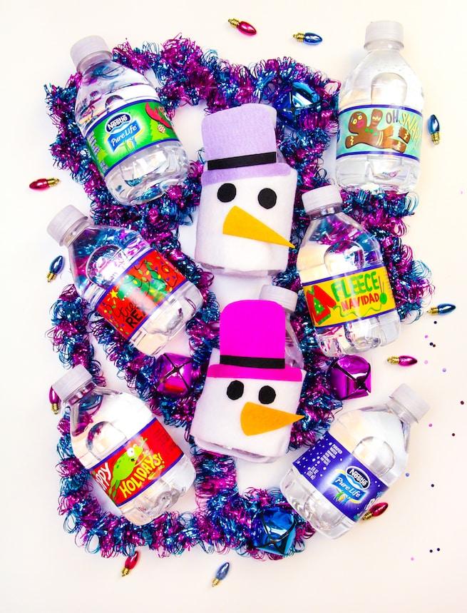 diy-snowman-mini-water-bottle-sleeves