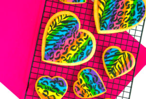 Lisa Frank Inspired Heart Galentine's Day Cookies!