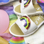 Easy DIY Rainbow Beach Sandals!