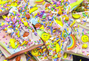 DIY Rainbow Chocolate Emoji Bark!