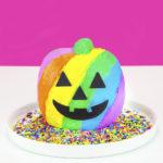 Lisa Frank Inspired Rainbow Jack-O-Lantern Cake!