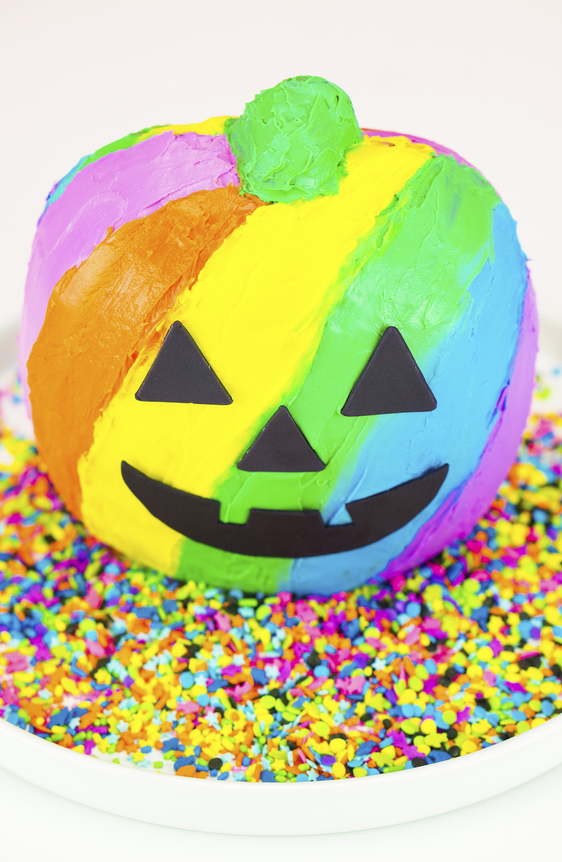 Lisa Frank Inspired Rainbow Jack O Lantern Cake ⋆ Brite