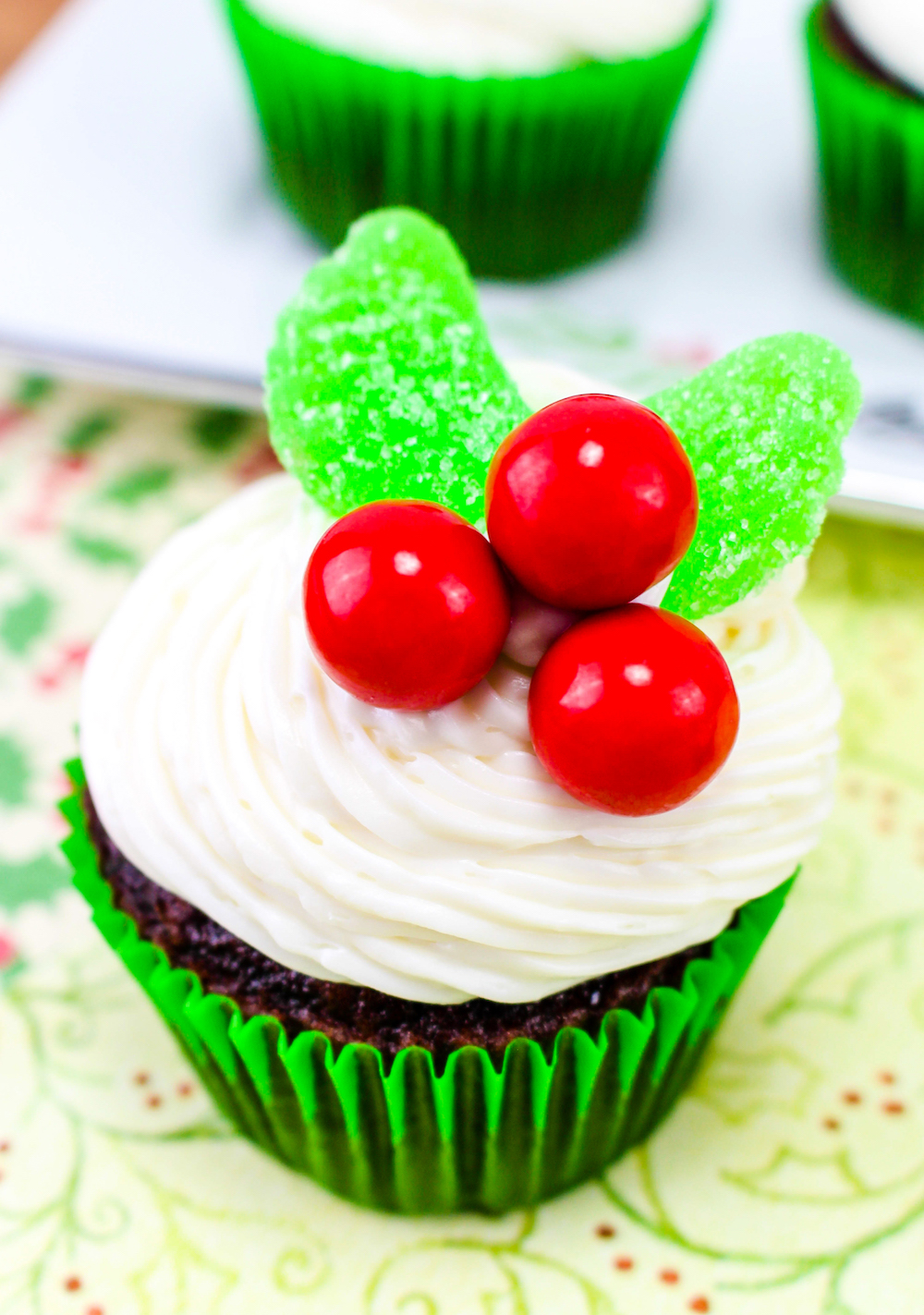 Easy Christmas Holly Cupcakes Brite and Bubbly