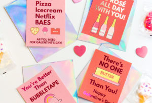 Free Printable & DIY Foiled Galentine's Day Cards!