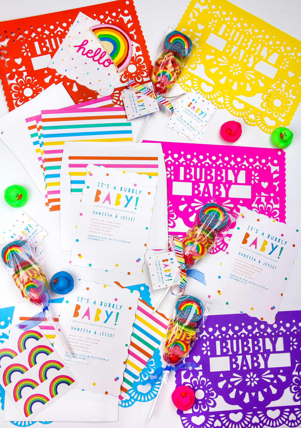 Our Rainbow Baby Shower Invites Favor Tags Brite And Bubbly