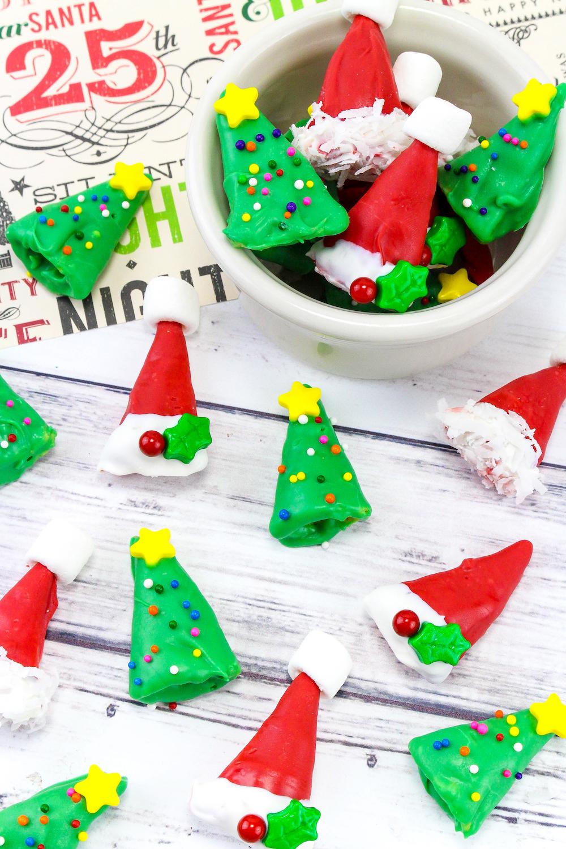 Easy Mini Christmas Tree Santa Hat Treats Brite And Bubbly
