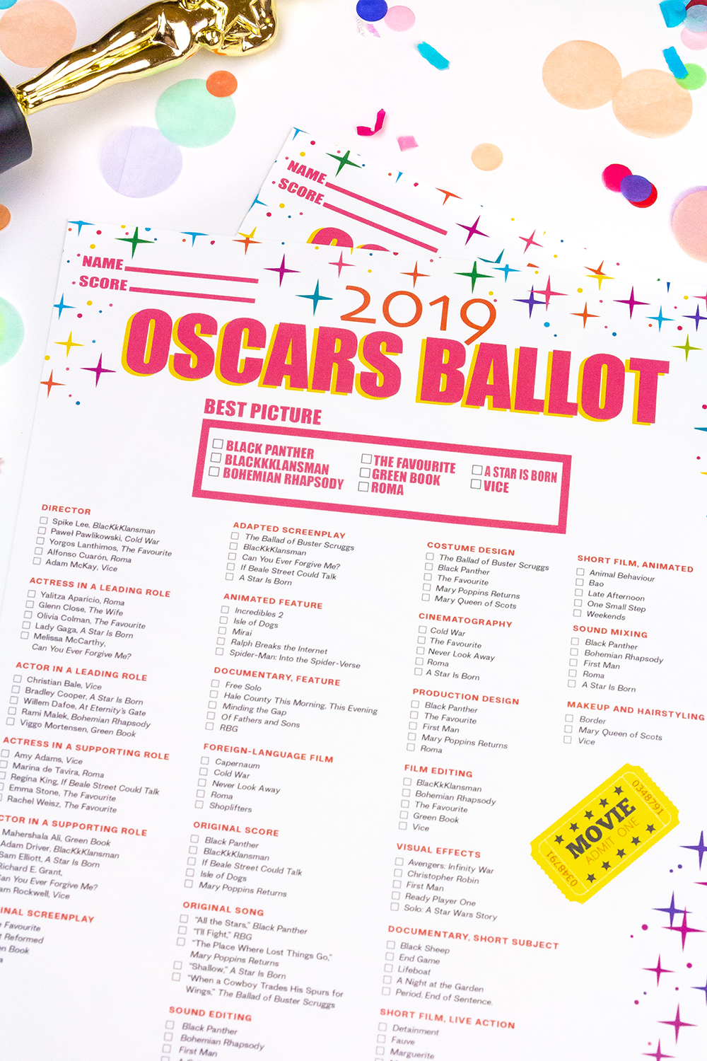 Our Free Printable Oscars 2019 Ballot Brite And Bubbly