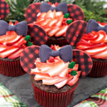 Holiday Buffalo Plaid Minnie Mouse Cupcakes!