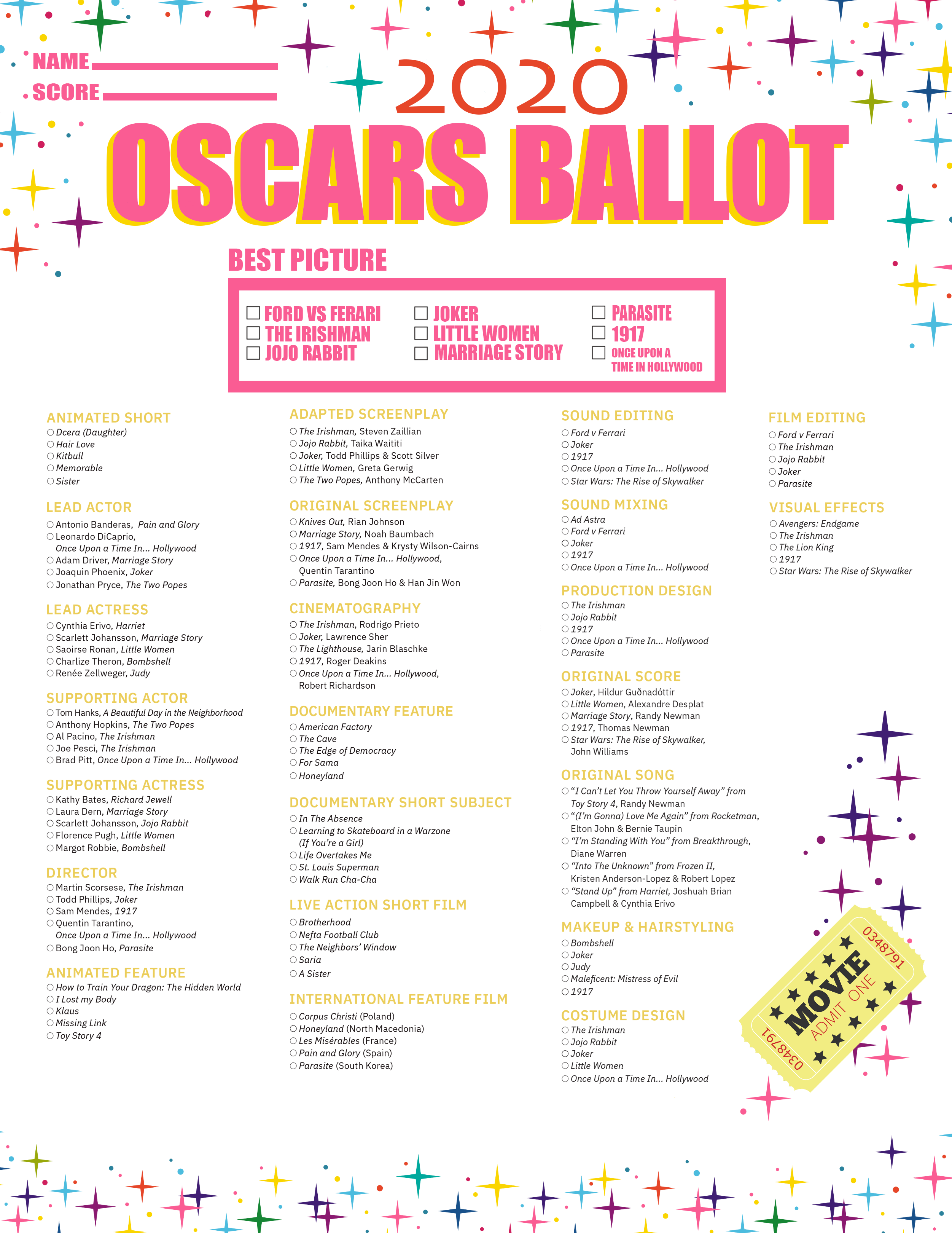It is a graphic of Printable Oscar Ballot with regard to official