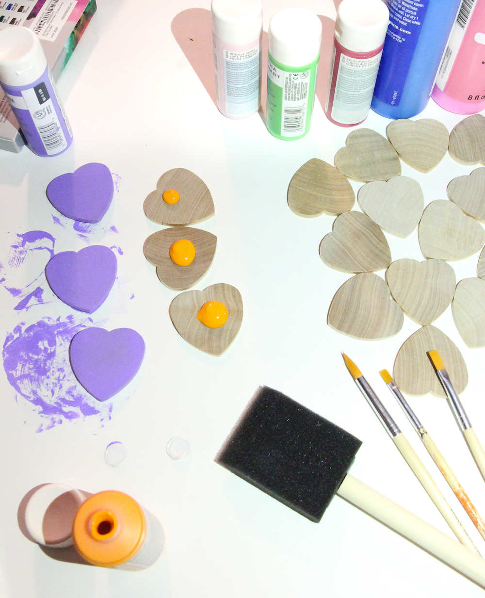 Toddler Colorful Hearts Matching Game In process painting