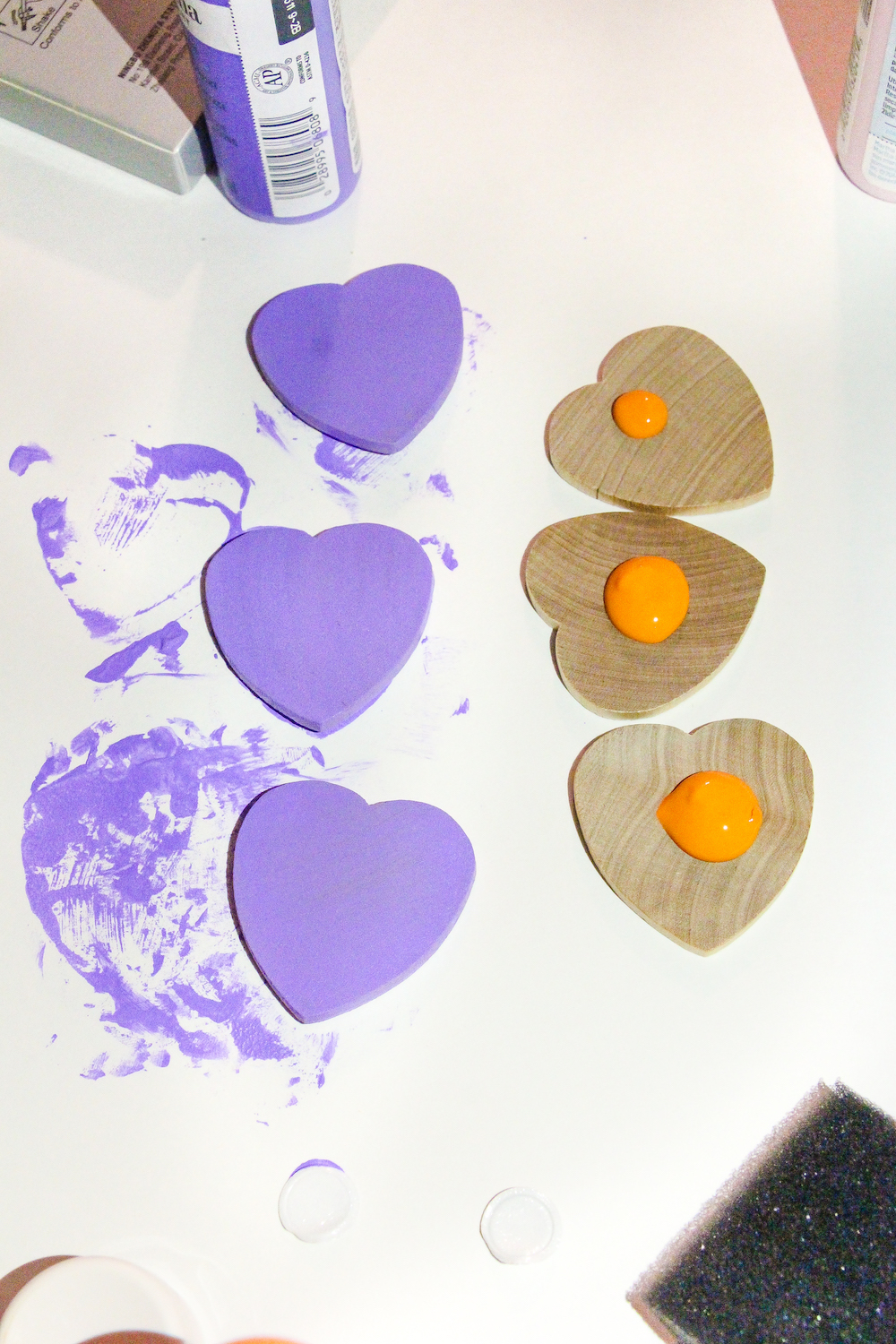 Toddler Colorful Hearts Matching Game In process painted hearts