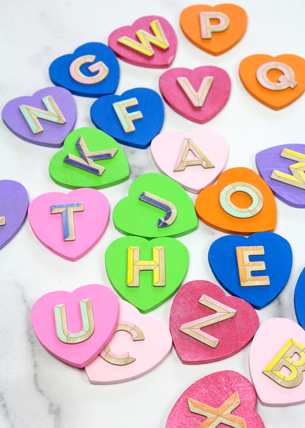 Toddler Colorful Hearts Matching Game scattered