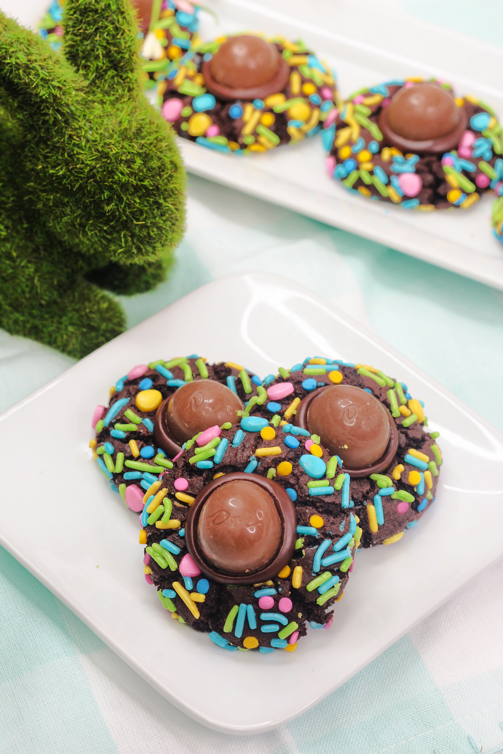Plated Chocolate Easter Thumbprint Cookies