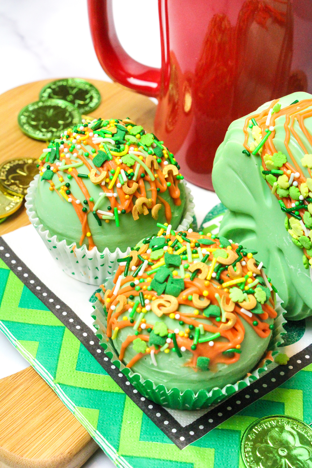 Two Round Saint Patrick's Hot Cocoa Bombs
