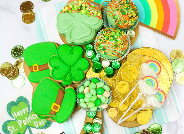 Saint Patrick's Day Treat Board Flat Lay